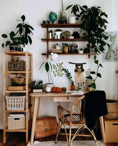 Home Deco Ideas Bathroom Cute Earthy Home Office Vibes with .- Home Deko-Ideen Badezimmer Cute Earthy Home Office Vibes mit einer Auswahl von Z… Home Deco Ideas Bathroom Cute Earthy Home Office Vibes with a selection of indoor plants - Tumblr Room Decor, Tumblr Rooms, Decor Room, Apartment Decorating On A Budget, Interior Decorating, Decorating Ideas, Apartment Ideas, Apartment Plants, Small Apartment Decorating