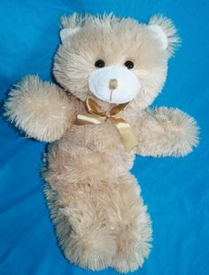 "A Mart Stuffed Teddy Bear Animal Tan Light Brown Stitched Nose Plush 16"" Floppy"