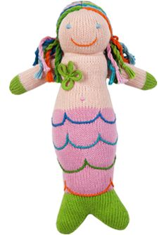 Our oldest daughter has this knit mermaid we had bought for her when she was a baby. I am going to try and replicate this for our other two daughters in different colors. <3 this!