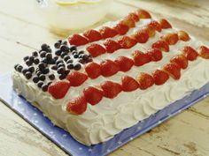 Flag Cake. I've made this only I baked the cake then poured prepared jello over it, refridgerated it and covered it with whip cream and fresh fruit