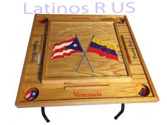 This Domino Table is covered with a special clear coat to prevent scratches. Table was made using quality wood. Domino Table, Drink Holder, Puerto Rico, Wood, Christmas, Ideas, Venezuela, Xmas, Woodwind Instrument