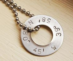 Personalized Latitude Longitude Necklace - Silver Custom Men's Washer Coordinate Jewelry