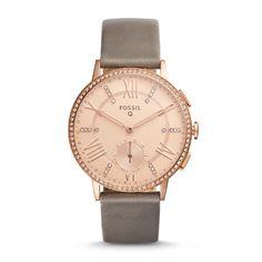 Fossil Q Gazer Gray Leather Hybrid Smartwatch