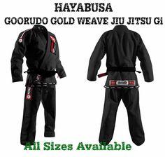 HAYABUSA GOORUDO GOLD WEAVE BJJ JIU JITSU GI KIMONO  BLACK #Hayabusa