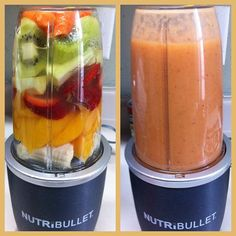 blend carrots, kiwi, apples, strawberries, peach & bananas. healthy smoothie!