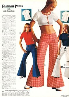 Fashion flared pants from Sears, 1973.