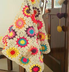 Manta para bebé a crochet Mil colores, $1900 en https://ofeliafeliz.com.ar