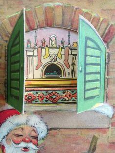 1941 Vintage Tony Sarg Christmas Card Mechanical Rotary Spinning Wheel Santa
