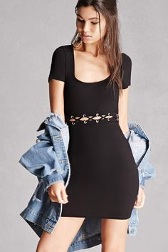 A ribbed knit dress featuring a front waist-slit with a crisscross design and grommet accents, a deep scoop neck, short sleeves, and a bodycon silhouette. This is an independent brand and not a Forever 21 branded item.