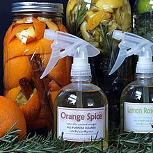 DIY Naturally Scented All-Purpose Cleaners. 4 varieties using vinegar, citrus, herbs, & spices. Printable tags, too! www.theyummylife.com/Natural_Citrus_Vinegar_Cleaners