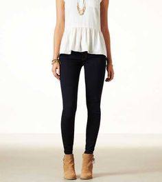 American Eagle Outfitters Jeggings. I like the high-waited the best. Stretchy and comfortable. It feels like I'm wearing sweats but they are way cuter!
