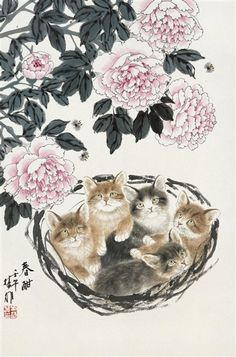 Basket of adorables! Fang Chuxiong (Chinese, born in Japanese Painting, Chinese Painting, Japanese Art, Asian Cat, Chinese Artwork, Oriental Cat, China Art, Cat Drawing, Cat Art