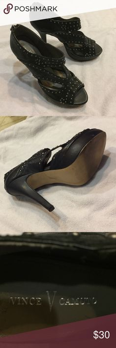 Selling this Vince Camuto studded zip back spike heels Size 10 on Poshmark! My username is: mrsholc4x4. #shopmycloset #poshmark #fashion #shopping #style #forsale #Vince Camuto #Shoes