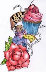 Image result for drink me eat me tattoo