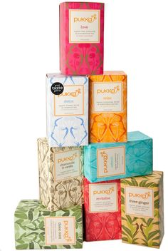 Pukka Tea. Love the assorted backgrounds for this tea packaging.