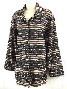 Chicos 2 M L Jacket Tribal Aztec Southwest Heavy Cotton Colorful Coat Size 12 14 #Chicos #BasicJacket