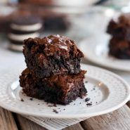 These are the BEST ever brownies! Made with my favorite mix and made even more decadent with crushed Oreo cookies. So easy and always a hit!