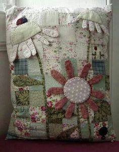 Don't Let the Flower Bed Bugs Bite - a patchwork, applique and embroidered cushion Applique Cushions, Patchwork Cushion, Embroidered Cushions, Sewing Pillows, Quilted Pillow, Wool Applique, Applique Quilts, Fabric Art, Fabric Crafts