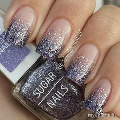 60 Glitter Nail Art Designs Degraded nail art and silver glitter nail art designed in French tips. Stand out from the crowd with beautiful glitter nail art designs Fabulous Nails, Gorgeous Nails, Pretty Nails, Silver Glitter Nails, Glitter Nail Art, Black Glitter, Nails With Glitter Tips, Sparkly Nails, Purple And Silver Nails