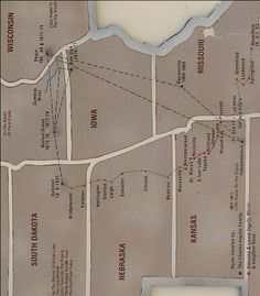 Map shows both The Charles Ingalls Family's travels (in black) and Almanzo, Laura, & Rose's (in red).
