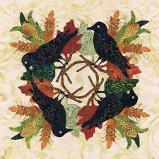 CROW QUILT APPLIQUE | P3 Designs P31812 Baltimore Autumn - Crow Wreath block 12 FREE US ...