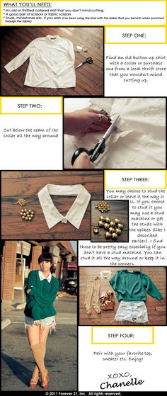 "Embellished Collar DIY by Chanelle of ""The Penelope Times."""
