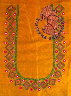@ Sidvitha Creations Simple Blouse Designs, Sari Blouse Designs, Designer Blouse Patterns, Blouse Neck Designs, Bead Embroidery Patterns, Embroidery Works, Hand Embroidery Designs, Mirror Work Blouse Design, Kutch Work Designs