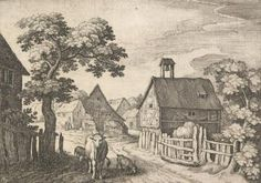 Landscapes in the Schwalbach-Region: Die Schwalbacher Reise. Plate 3. Street in a village with cow in the left foreground.