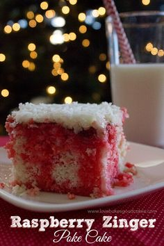 Raspberry Zinger Poke Cake Printable recipe Yield: servings 1 box white cake mix Ingredients listed on box to prepare. Köstliche Desserts, Delicious Desserts, Dessert Recipes, Yummy Food, Poke Cake Recipes, Poke Cakes, Bunt Cakes, Layer Cakes, Cupcakes