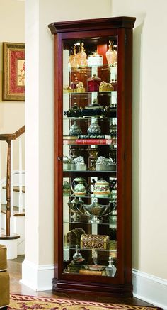 Corner Curio Cabinet   Victorian Cherry By Pulaski   Home Gallery Stores