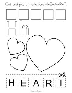 Cut and paste the letters H-E-A-R-T Coloring Page - Twisty Noodle Preschool Printables, Kindergarten Activities, Classroom Activities, Letter H Worksheets, Phonics Worksheets, Printable Worksheets, Learning Time, Kids Learning, Valentine Activities