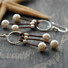 Pearl and Leather Earrings