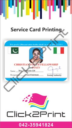 High Quality PVC Cards! (Id cards - Access cards, Student Card, Service Card, Police Card, Security Card, Highway Police Card, Army Card, Press/Media Card - Gift cards - Member cards - Credit cards - Business cards - Vip cards) We manufacture PVC plastic cards at a very low cost for the costumer. Prices from Rs. 70 pr card! These cards can be used as Contact us...! Ph: 04235941824 Cell: 03344478886 Skype: click2print1 Gtalk: faizi.click2print