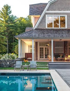 pretty house exterior and pool