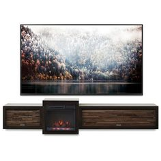 Save $100 off Regular Price of $1,797 With This Bundle! Floating TV Stand With Electric Fireplace  The Eco Geo is a unique eco-friendly modular entertainment consolewhich is handcrafted of solid Poplar and genuine Maple veneers.  This bundle includes our electric fireplace and heating unit! The fireplace unit feat Floating Tv Console, Floating Fireplace, Floating Tv Stand, Tv Stand Console, Fireplace Console, Wall Mounted Fireplace, Wall Mounted Tv, Fireplace Design, Wall Mount Tv Stand