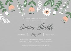 Floral Gray Bridal Shower Invite card by Postable on Postable.com