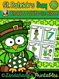 Write the Room Literacy Center Printable Activity for Kindergarten, First, and Second Graders.Let's celebrate St. Patrick's Day in the classroom with a 24 color Vocabulary Cards perfect for your Read and Write the Room activities!  Includes black and white Read and Write Printables to match color vocabulary cards.Write the Room with Lendahand's Printables (St.