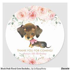 Blush Pink Floral Cute Dachshund Puppy Dog Favor Classic Round Sticker