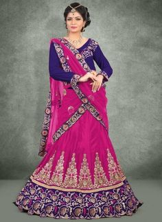Classy Magenta And Blue Chinnon Heavy Stone And Sequins Work A Line Lehenga Choli