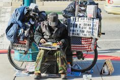 homeless veteran.   SHAME ON AMERICA AND THE OBAMAS!  AMERICA IS SUPPOSED TO BE THE GREATEST COUNTRY IN THE WORLD...WHY ARE THERE HOMELESS VETERANS ON THE STREETS?