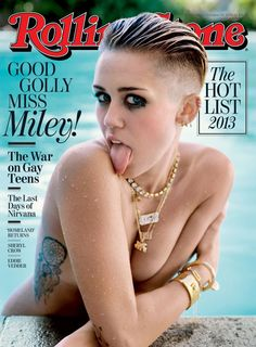 "Miley Cyrus,  from Stars' Naked Magazine Covers  ""Wrecking Ball"" singer can't resist sticking her out her tongue and bowling over fans by posing nude on the Oct. 8, 2013 cover of Rolling Stone"