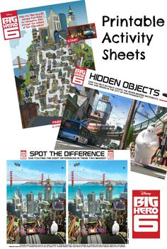 A set of Disney Big Hero 6 printable activity sheets including spot the difference, mazes, and hidden object puzzles featuring Baymax, Hiro and friends