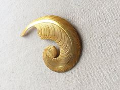 Miriam Haskell Brooch / Gold Feather Brooch / by DanasLegacy