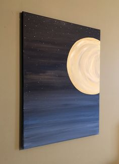 easy paintings This original acrylic painting on canvas is a calming and relaxing painting of a new moon in the night sky, surrounded by stars. This painting would make a great ad Small Canvas Paintings, Easy Canvas Art, Small Canvas Art, Mini Canvas Art, Easy Canvas Painting, Cute Paintings, Simple Acrylic Paintings, Acrylic Canvas, Landscape Paintings Simple