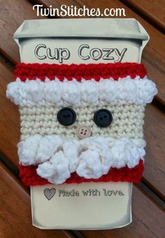 Crochet Gift Idea Santa Cup Cozy free crochet pattern - Free Santa Crochet Patterns - The Lavender Chair - These Santa crochet patterns are perfect for me because they are perfect for Christmas. I just love anything and everything santa claus. Crochet Coffee Cozy, Crochet Cozy, Crochet Gifts, Free Crochet, Coffee Cup Cozy, Crochet Christmas Decorations, Christmas Crochet Patterns, Holiday Crochet, Coffee Cozy Pattern