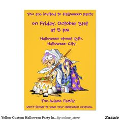 Yellow Custom Halloween Party Invitations - Witch