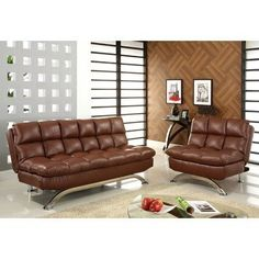 Aristo Bi-Cast Leather Convertible Sofa and Chair Set in Reddish Brown by Hokku Designs. $718.99. IDF-CM2906 2PC Features: -High and deep cushioning for maximum seating comfort.-Sofa easily converts to a full size bed, great for overnight guests.-Extra padded seat and back cushion offers great comfort and support.-Easy to convert chair can be change flat position and connected to sofa for a chaise-like for lounging.-Button tuft design.-ISTA 3A certified. Includes: -Set includes ...