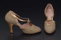Pair of women's evening shoes United States Dimensions x x cm x 2 x 8 in.) Medium or Technique Cotton and gilt metal thread woven with gilt leather and gilt metal buckles with diamond paste 1940s Shoes, Evening Shoes, Perfect Woman, Metal Buckles, Pumps, Heels, Character Shoes, High Tops, Fashion Shoes