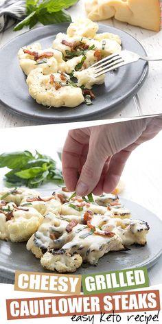 Parmesan Roasted Cauliflower, Grilled Cauliflower, Cauliflower Steaks, Cauliflower Recipes, Keto Recipes With Bacon, Steak Recipes, Grilling Recipes, Low Carb Recipes, Hamburger Recipes