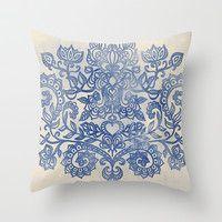 Indigo Blue Denim Ink Doodle Throw Pillow by micklyn